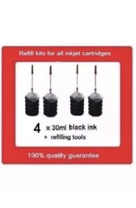 4 x refill kits for HP65XL Black ink cartridges For HP ...
