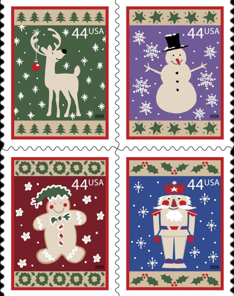 2009 44c Winter Holidays, Block of 4 Scott 4425-28 Mint