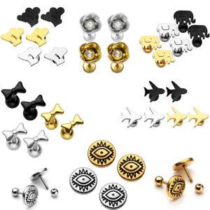 Punk-Steel-Heart-Flower-Bow-Plane-Barbell-Ear-Cartilage-Helix-Stud-Bar-Earrings