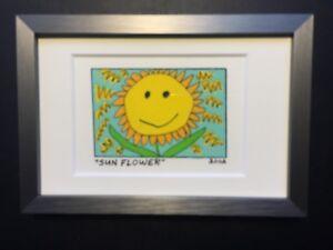 James-RIZZI-Original-Farblithographie-034-SUN-FLOWER-034-3D-Vorlage-gerahmt-2002