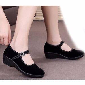Womens Chinese Mary Jane Flat Shoes Beijing Work Velvet ...