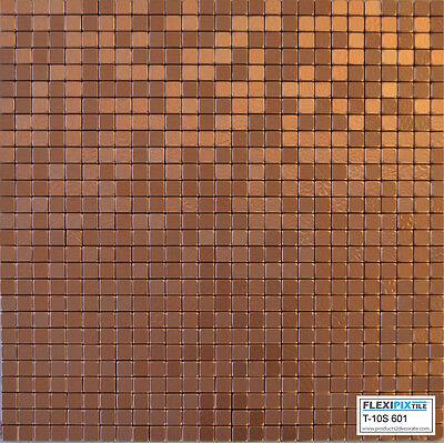 FlexiPixTile-Aluminum Peel & Stick Mosaic Tile Kitchen Backsplash - COPPER COIN