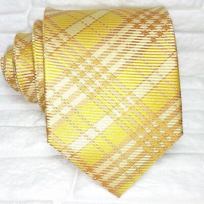 Cravatta Uomo Gialla Tartan 100% Seta Made In Italy Scozzese Elevato Standard Di Qualità E Igiene