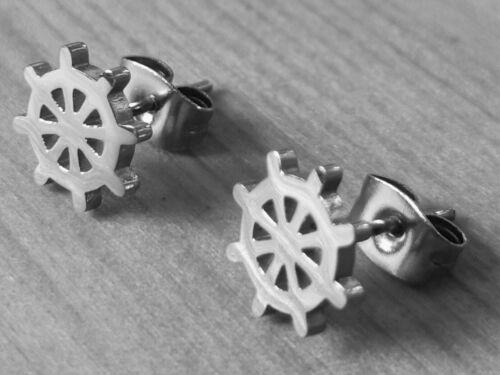 1 Paar Ohrstecker Steuerrad maritime Ohrringe Edelstahl Seemann Ahoi Seefahrt