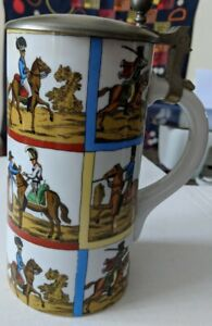 German-Lidded-Beer-Stein-Porcelain-made-in-Germany-Soldiers-on-horses