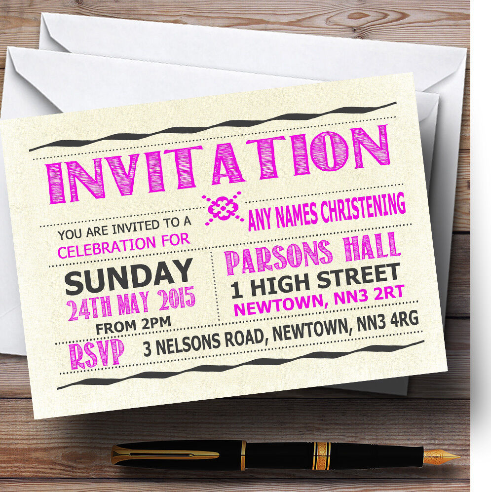 Typography Word Art Hot Rosa Christening Party Invitations Personalised Da31c5