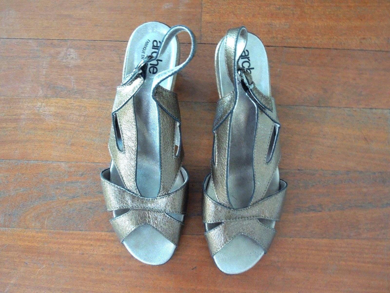Arche Metallic Bronze Leather Slingbacks Sandals shoes sz 40