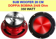 "Woofer SubWoofer per Auto 8"" 20 Cm 350 Watt Dual Coil Doppia Bobina 2/4/8 Ohm"