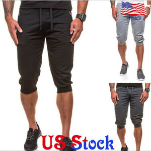 Capri Stretch Cropped Pants Men S Elastic Waist Trousers Skinny