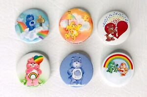 Lot-of-6-Vintage-CareBear-Pins-Pinback-Buttons-Care-Bear-1-5-034-diameter