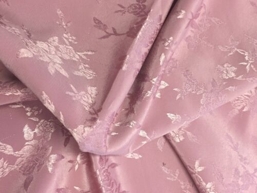 """Vintage Polyester Dusty Pink Rose Embossed Floral Fabric 43/"""" W X PRICE PER YARD"""