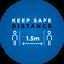 Internal Indoor Social Distancing keep Apart Distance Floor Sticker 1.5mx 5