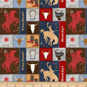 Learning The Ropes Fabric Cowboys On Red #1893 394 Premium Cotton