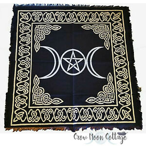 TRIPLE-MOON-PENTAGRAM-ALTAR-CLOTH-24x24-034-Wicca-Pagan-Witchcraft-Black-amp-Gold