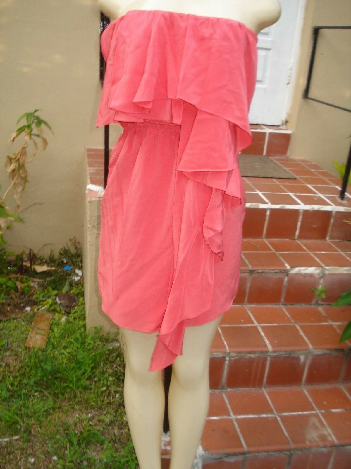 Haute Hippie PINK SILK STRAPLESS RUFFLE FRONT CASUAL MINI DRESS Sz S