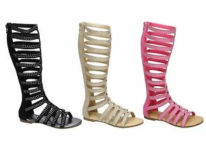 4969f5aa98b75 Girls Tall Knee High Strappy Gladiator Sandals Flat Diamante Summer ...