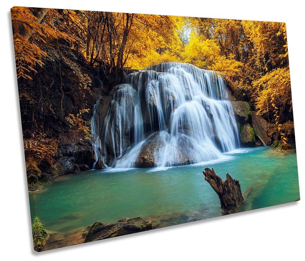 Bosque tropical Amarillo imagen de de de cascada solo LONA parojo arte impresión 1a4864