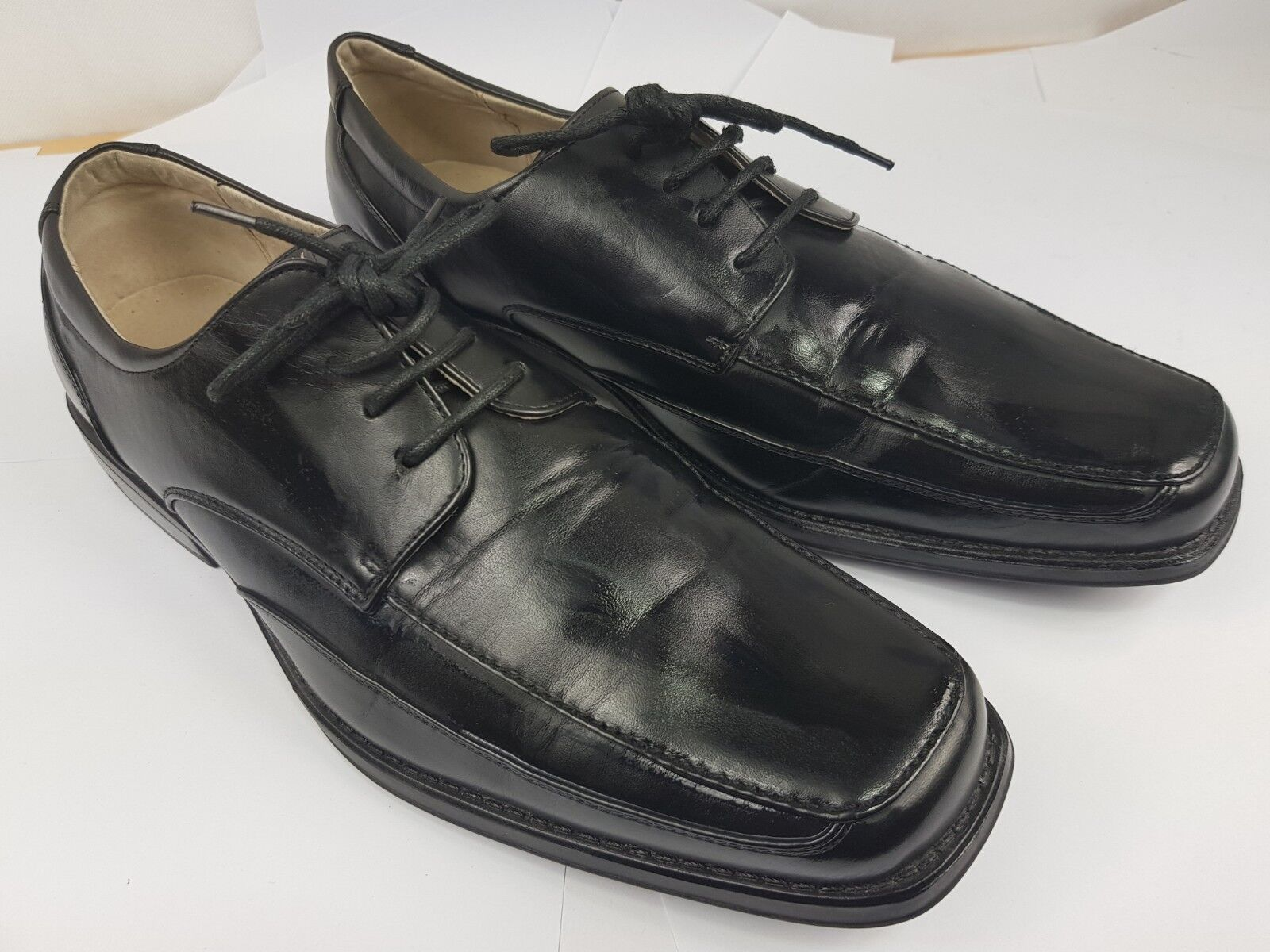 M&S Essential Black Lace Up Quality Leather Work shoes UK 9 EU 43 - VGC