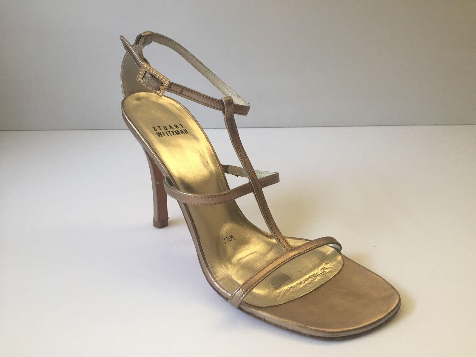 Stuart Weizman gold strappy heels Stilettos size 7 1 2