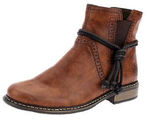 Details zu Rieker Damen Stiefeletten Boots Stiefel Chelsea Braun Booty Schuhe Neu 37 38 42