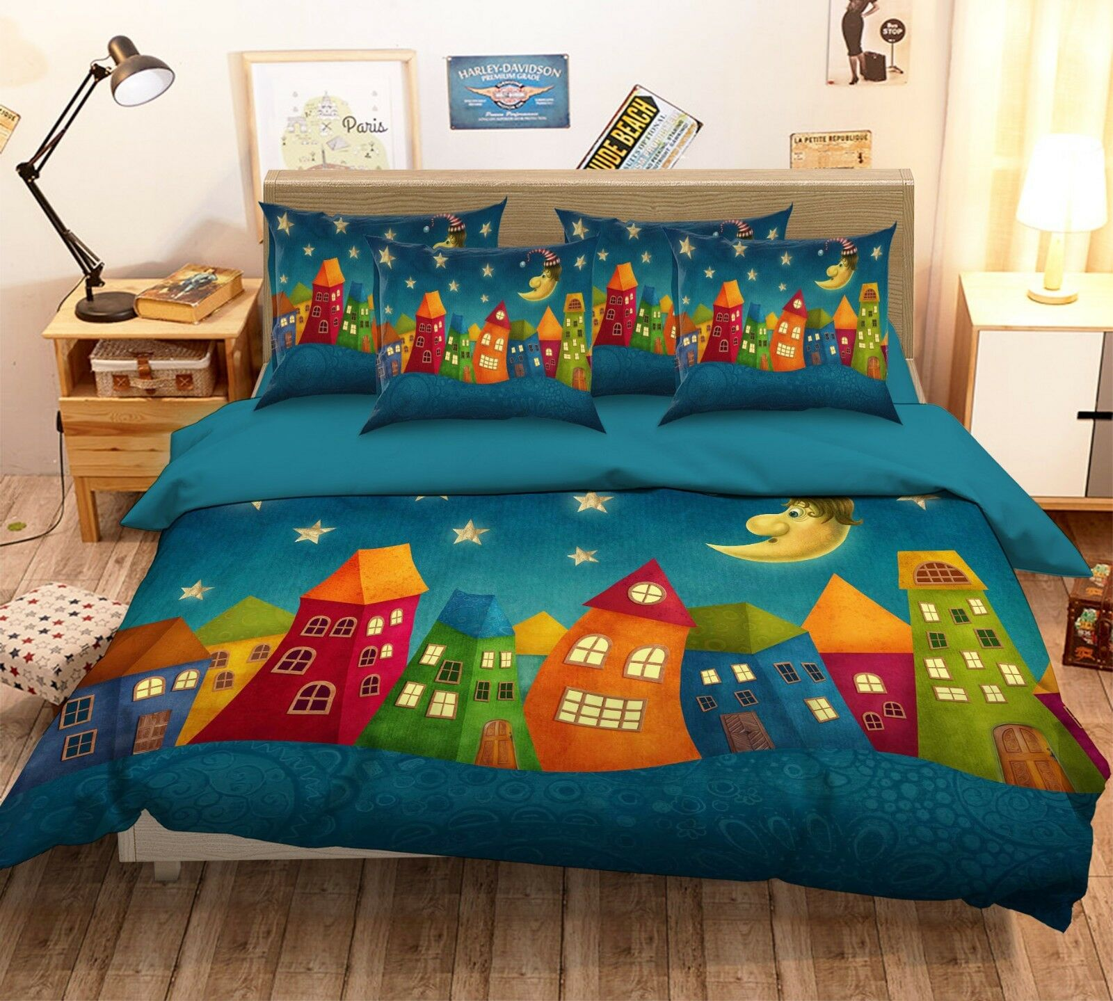 3D Cartoon House 53 Bed Pillowcases Quilt Duvet Cover Set Single Queen King AU