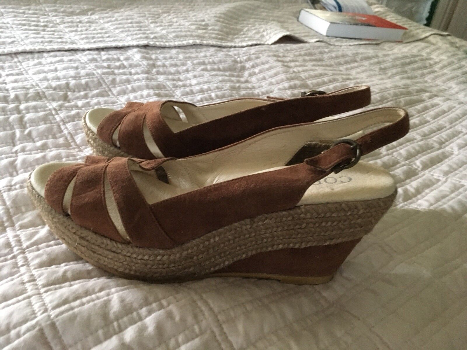 CORDANI Wedge Espadrille Suede Sandals Size 38 NEW
