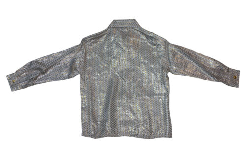 Kid/'s Silk Shirt Metallic Gridded Design Long Sleeve