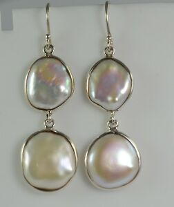 Freshwater-Coin-Pearl-925-Solid-Sterling-Silver-Handmade-Dangle-Drop-Earrings
