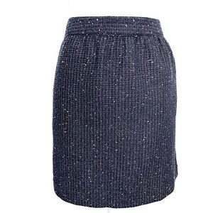 Ann-Taylor-LOFT-Black-Metallic-Tweed-Knee-Length-Career-Pencil-Skirt-Womens-10P
