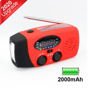 Red 2000mAh Portable Emergency Solar Hand Crank Radio AM/FM/WB Flashlight Charge