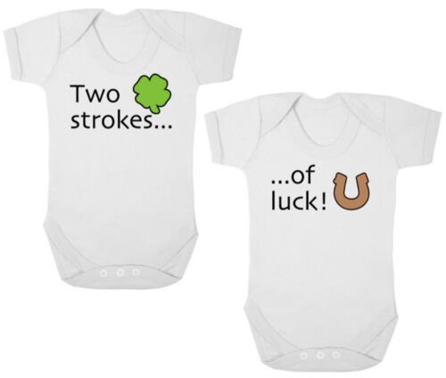 Baby Shower TWO STROKES OF LUCK Bodysuits//Grows//Vests//Rompers TWIN Newborn Gift
