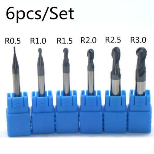 6PCS Nitrogen Coated 2 flutes Ball Nose End Mill set CNC tool R0.5 to 3.0MM