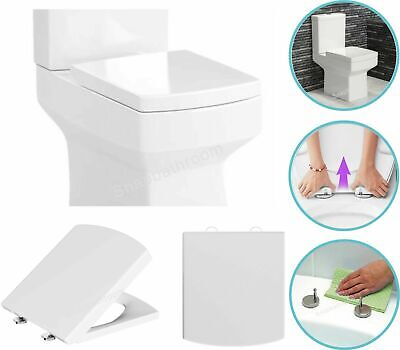 Soft Close Toilet Seat Square Top Fixing Hinges Quick Release Fitting White Slow