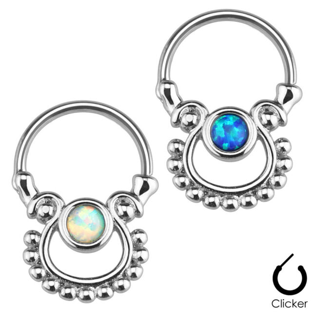 Single OPAL Stone SEPTUM Nose RINGS Clicker Hanger Studs Body Piercing Jewelry