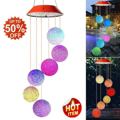 Color Changing LED Solar Powered Spiral Spinner Wind Chime Light Yard