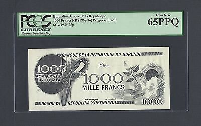 Burundi 1000 Francs 1968-76 P25p Die Proof Specimen Uncirculated Attractive And Durable Paper Money: World