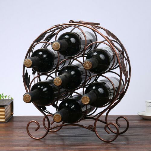 Metal Wine Rack 7 Bottle Storage Holder Stand Shelf Home Bar Countertop Decor