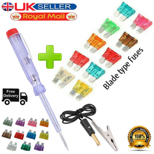 Car Circuit Voltage Tester Tool 6\12\24V with 10 Pieces Blade Fuse SET