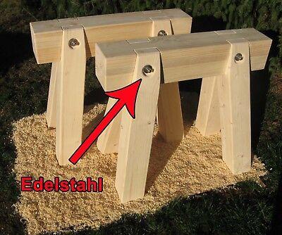 Sammlung Hier 2 X Holzbock Neu Mit Edelstahl, Arbeitsböcke, Montagebock, Schreinerbock Wir Nehmen Kunden Als Unsere GöTter