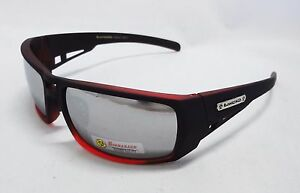BioHazard Optics Sunglasses MATTE RED & BLACK Mirror Lens Trendy Unisex Men
