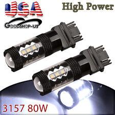 2x Cool White 3157 High Power 80W Tail Brake Stop LED Light Bulbs Backup Reverse
