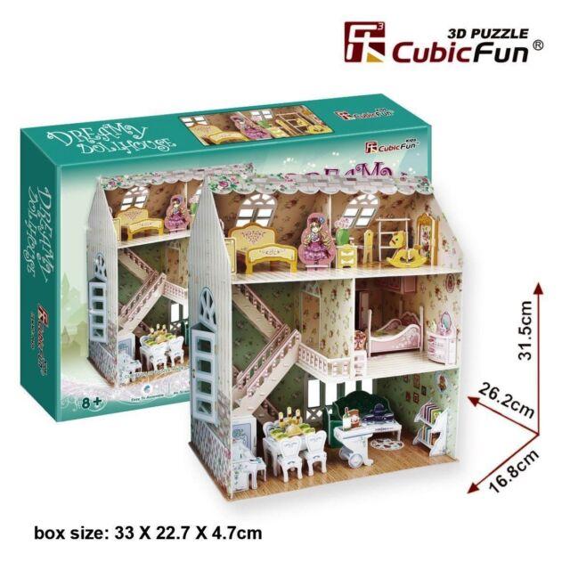 Dreamy Dollhouse: 3D Puzzle Cubic Fun Doll's House Puzzle 160 p'ces P645h 8+