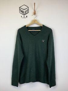 Felaktig garderob Orädd  GANT, Mens Size XL, Dark Green, Lambswool, Thin Knit V-Neck Jumper ...