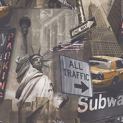 Grandeco New york Liberty City Statue Of Liberty Wallpaper  POB-002-02-5