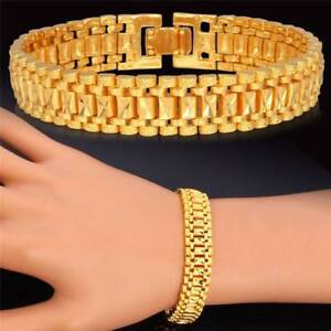 1pc-Chunky-Link-Chain-Bracelet-18K-Gold-Plated-Cuff-Bangle-Wristband-Jewelry-Men