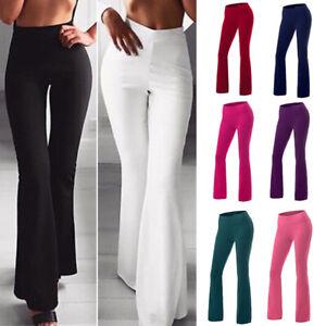 Women High Waist Yoga Pants Flare Wide Leg Bootcut Leggings Gym Fitness Trousers
