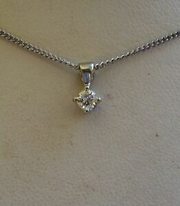 New-1-5ct-Diamond-Solitaire-18ct-White-Gold-Pendant-Necklace-amp-Gold-Chain-265