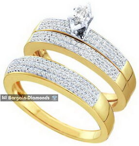 Image Is Loading Diamond 3 Ring 10K Gold Wedding Band Set