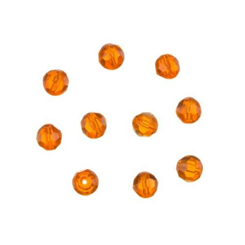 C31//5 Tranparent Orange 6mm Faceted Crystal Round Glass Beads Pack of 10