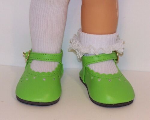 LIME GREEN Mini Heart Cut-Out LL BUCKLE Doll Shoes For Chatty Cathy Debs